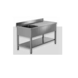 Billigt 100% rustfrit stålbord med underhylde og vask i HØJRE side - MANGE STØRRELSER