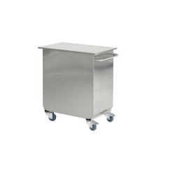 Rustfri stål beholder m. hjul til ingredienser, 75L, 114022 - Fødevarer godkendt