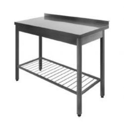 Stålbord med rillet underhylde DSS, 700 mm dyb i mange længder