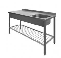Stålbord med vask og ribbet underhylde, 700 mm dyb i mange længder