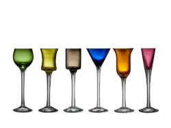 Lyngby Glas Snapseglas, FARVET, 2,50 cl 6 stk