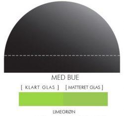 Buet stænkpanel i jernfrit glas - Limegrøn - Flere størrelser