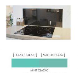 Firkantet stænkpanel i jernfrit glas  - Classic mint- Flere størrelser