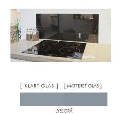 Firkantet stænkpanel i jernfrit glas  - Lysegrå - Flere størrelser