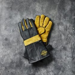 Gloves, 1 set,black leather w/yellow suede,sewn-in